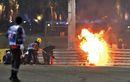 Terbelah Jadi 2! Begini Penampakan Mobil Romain Grosjean yang Meledak pada Lap Pertama F1 Bahrain 2020