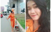 Cewek Cantik Petugas Kebersihan yang Viral di Medsos Ditabrak Motor Ketika Menyapu Jalan