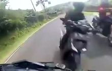 Video Detik-detik Honda Vario Hajar Yamaha Aerox Saat Cornering, Gak Paham Marka Jalan