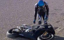 Pertama Naik Honda RC213V, Alex Marquez Langsung Jatuh di Valencia