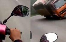 Liatnya Ngilu, Detik-detik Truk Fuso Terbalik Menimpa 2 Pemotor, Kecelakaan Terekam Kamera HP Korban