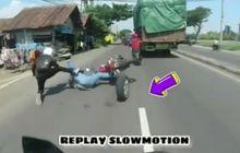 Ngilu liatnya, 2 Pemotor Tiba-tiba Jungkir Balik di Tengah Jalan, Ban Mobil Nyelonong Sendirian