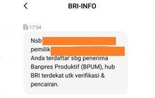 Jangan Bingung Terima SMS dari BRI Ditransfer Bantuan Pemerintah Rp 2,4 Juta, Ini Cara Pencairan Menurut Pihak Bank