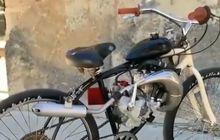 Kreatif Banget! Modifikasi Sepeda Pakai Mesin Motor, Sekali Ngegas Langsung Bikin Melongo