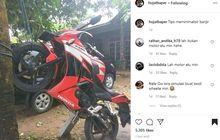 Nah Loh, Honda CBR Digantung Sampai Dongak, Biar Gak Kena Banjir?