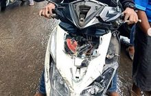 Nyawa Hampir Melayang, Viral Motor Ringsek Dilibas Kereta Lokomotif