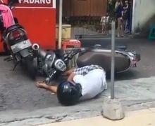 Geger! Diduga Corona, Pengendara Honda Scoopy Kejang dan Tergeletak di Rumah Makan Padang