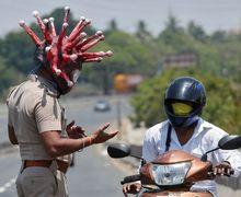 Unik Abis, Polisi di India Pakai Helm Virus Corona Biar Warga Gak Keluyuran Ketika Lockdown