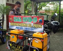 Keren Bro, Motor Dinas Kawasaki KLX 150 Milik Polisi Ini Dimodifikasi Jadi Alat Penyemprot Disinfektan Cegah Virus Corona