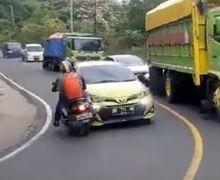 Viral! Video Detik-detik Pemotor dan Pemobil Adu Kambing di Tikungan, Warganet Geram