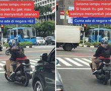 Viral Video Atraksi Pemotor Gak Mau Turunkan Kaki Saat Lampu Merah