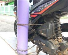 Orangnya Kabur, Motor Diduga Milik Pelaku Pencurian Dilas ke Tiang Listrik