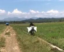 Rossi dan Marquez Gemetar Lihat Aksi Petani Pacu Motor di Tengah Sawah