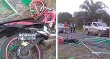 Mabok Bae Sih, Kecelakaan Pemotor Hantam Pos Covid-19 , Ambyar Berantakan Nyawa Nyaris Melayang Ketimpa Tiang