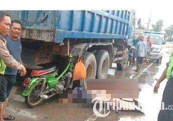 Astaga, Motor Legendaris Honda C70 Cium Ban Belakang Truk, Pemotor Terkapar Ditutup Kardus
