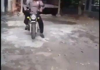 Bikin Ngakak! Video Polisi Unjuk Skill, Mau Wheellie Malah Begini Jadinya