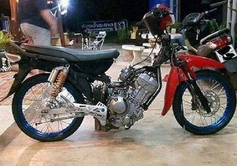 Enggak Ada Obatnya, Motor Honda Supra Cangkok Mesin Honda CRF250, Siapa Berani Lawan?