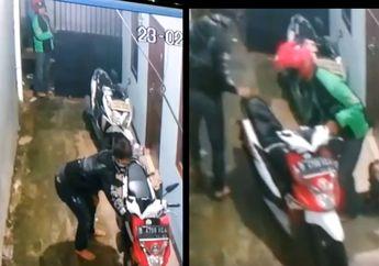 Bikin Geram, Video Dua Motor Matic Honda Disikat Maling Sekaligus, Pelaku Pakai Jaket Ojol