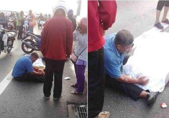 Menyayat Hati, Suami Histeris dan Terus Peluk Istrinya yang Tewas Kecelakaan, Terlempar dari Motor