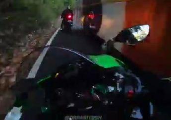 Deg-degan, Video Triumph Daytona 675 dan Kawasaki Ninja ZX-10R Nyaris Adu Banteng Lawan Bus