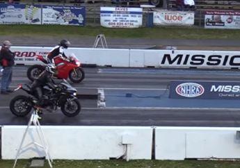 Bengis! Video Drag Race Kawasaki Ninja H2 Vs Ducati Panigale V4, Si Hitam Melesat Jauh