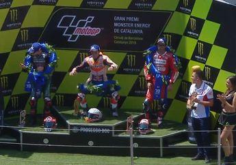 Video Saking Gembiranya, Ada-ada Saja Kelakuan Marc Marquez di Atas Podium MotoGP Catalunya 2019