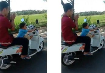 Miris, Video Seorang Balita Kendarai Motor Honda Scoopy di Jalan Raya Sambil Bonceng Orang Dewasa