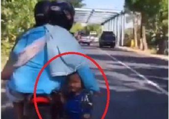 Miris Lihatnya, Video Bocah Dibonceng Naik Motor di Keranjang Besi Tempat Galon