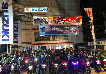 Sadis, Ratusan Bikers Suzuki Saturday Night Ride Panaskan Banjarmasin