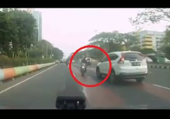 Ngilu Liatnya, Video Pemotor Nekat Lawan Arah Saat Jalan Ramai, Nyaris Adu Banteng Sama Honda CR-V