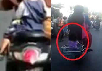 Kasihan, Video Anak Kecil Dibonceng dengan Posisi Berbahaya di Motor, Orangtuanya Kok Tega