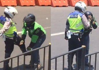Waduh, Kenapa Nih Seorang Polisi Tendang Driver Ojol Sampai Membungkuk Minta Maaf