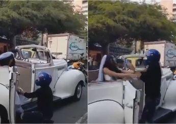 Mencekam, Video Seorang Pemotor Cegat Mobil Pengantin Wanita Mantan Kekasihnya, Sampai Lakukan Ini
