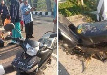 Tabrak Separator, Pengendara Yamaha Vega Tewas di Lokasi, Anak dan Istri Terlempar ke Bawah Jembatan