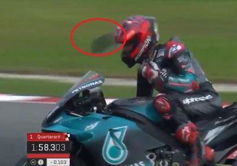 Kegirangan Raih Pole Position di Kualifikasi MotoGP Malaysia 2019, Visor Helm Fabio Quartararo Copot