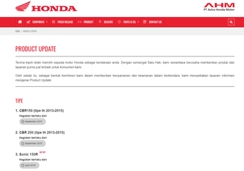 Bikin Penasaran Nih! Ada Menu Product Update di Website Astra Honda Motor, Apa Maksudnya?