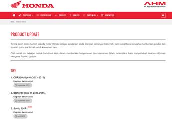 Bikin Penasaran Nih! Ada Menu Product Update di Website Astra Honda Motor, Apa Maksudnya?