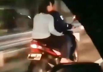 Dunia Serasa Milik Berdua, Video Viral Pasangan Kekasih Naik Honda Vario Terobos Jalan Tol, Netizen: Langsung Kirim ke Nusakambangan