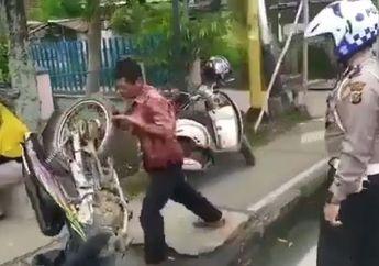 Ngamuk Tak Terima Ditilang Polisi Seorang Bapak Banting Hancurkan Honda Supra Fitnya Sendiri, Gara-gara Gak Pakai Helm