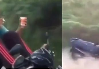 Kelewat Selow! Angkat Kaki Sambil Ngerokok Minum Es Lepas Tangan lagi ,Seorang pemuda Naik Honda BeAT Nyungsep Ke Alang-alang