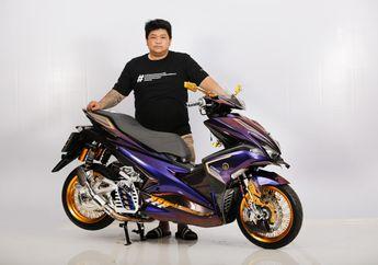 Bagian Pelek Paling Mencolok, Yamaha Aerox Warna Ungu Ini Juara Daily di Customaxi Pontianak