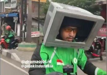 Kocak, Karena Pakai Helm Sudah Biasa Driver Ojek Online Ini Nekat Pakai TV Bekas