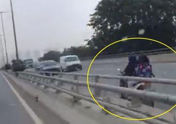 Menjemput Maut Cewek Naik Motor di Jalan Tol Melawan Arah Kecepatan Tinggi Tanpa Helm Videonya Diserbu Netizen
