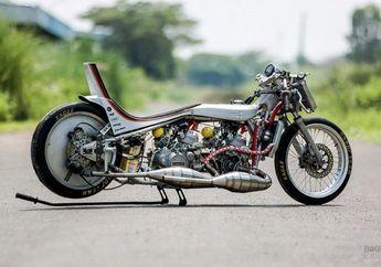 Bikin Melongo! Gendong 2 Mesin Sekaligus,  Modifikasi Gila Ala Drag Bike Kawasaki Ninja R Karya Anak Indonesia