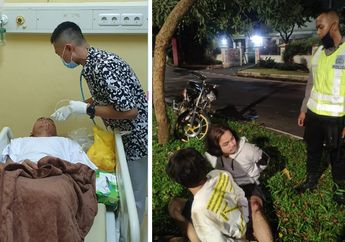 Parah Banget, Berusaha Kabur Dua Pemotor Nekat Tabrak Polisi Saat Patroli PSBB, Korban Terkapar di Aspal