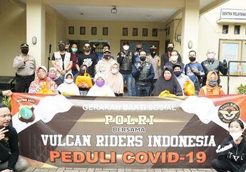 Patut Diacungi Jempol, di Tengah Pandemi Covid-19, Vulcan Riders Indonesia Bagikan Ratusan Sembako dan Masker