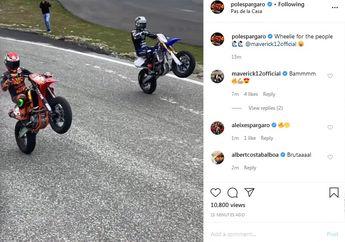 Kompak Banget, Aksi Wheelie Apik Pembalap MotoGP Pol Espargaro dan Maverick VInales, Pas Latihan Bareng