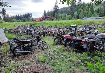 Kolektor Dijamin Melongo, Terparkir di Hutan dan Body Karatan, Ternyata Ratusan Motor Lawas Ini Dijual