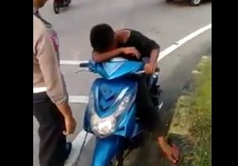 Lucu! Takut Motornya Ditilang, Tangis Anak Kecil Ini Pecah Dipinggir Jalan, Diketawain Polisinya