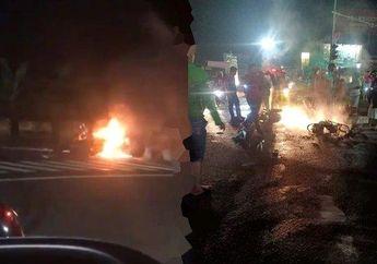 Warga Panik Berhamburan, Video Dua Motor Kecelakaan Hingga Terbakar, Sebuah Mobil Melarikan Diri Setelah Kejadian